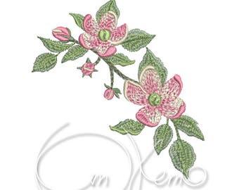MACHINE EMBROIDERY DESIGN - Apple blossom, Apple flowers, Rosehip flower