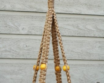 Jute Macrame Plant Hanger with Round Yellow Wooden Beads