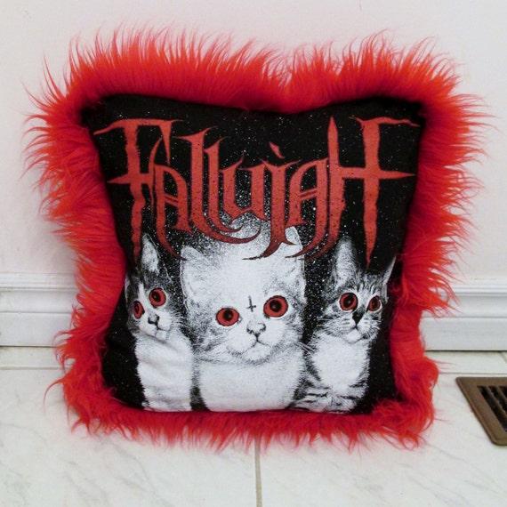 fallujah pillow diy death metal cats decor faux fur trimmed. Black Bedroom Furniture Sets. Home Design Ideas