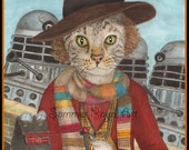 Dr. Who, the 4th Doctor, Fourth Baker, Science Fiction, Time Traveling Cat, Note Cards and Prints - Cats, Watercolor, Item #0521a