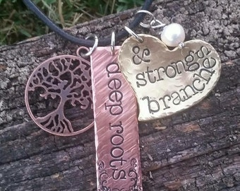 Hand Stamped deep roots & strong branches necklace - Handstamped Handmade Personalized Custom Family Tree Country Rustic Mixed metal