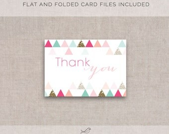 Instant Download! Modern Bridal/Baby Shower Thank you Card (Flat and Folded)