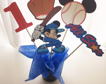 5 Piece Mickey Mouse Baseball Centerpiece, Mickey Mouse Centerpiece, Baseball Birthday Decor, Baseball Birthday Party Decor