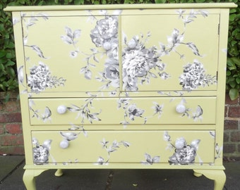 Vintage Cupboard with Drawers restyled in green and greys