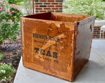 Antique Wooden Tea Box, Ridenour-Baker Grocery, Vintage Found Object Fixture, Display, Shabby Chic Storage