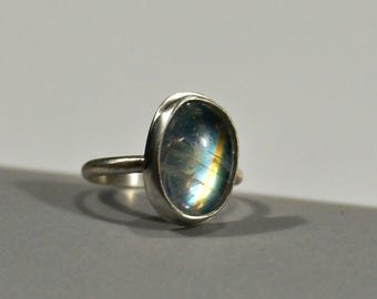 Rainbow Moonstone Ring (Size 5.75) - Sterling Silver Jewelry by AdornedinSilver