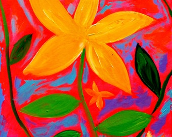 Neon Blooms, 20x16, original art, acrylic painting, neon pink background, funky painting, flower art, colorful painting, whimsical painting