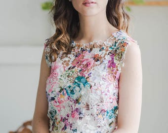 Floral Print Lace Crop Top with Back Details - Simple Bridal Top - Boho Bride - Gift for Bride - Wedding Gift