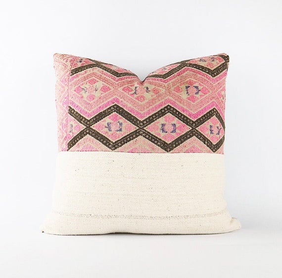 Antique Hand Embroidered Pink And Gray Chinese Miao Wedding Blanket And African Mudcloth Textile Pillow Cover 18x18