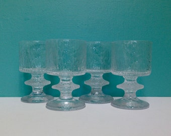 Vintage Iittala Senaattori Small Wine Glass Set of Four Made in Finland