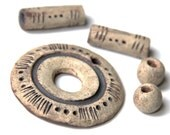 Pendant and beads set - RUSTIC stoneware clay beads - handmade jewelry components