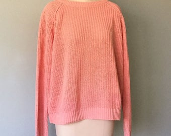 Vintage 1980s Shaker Knit Sweater Cotton Ramie Pastel Peach Drop Shoulder Raglan Sleeve FLORENZA Size Medium