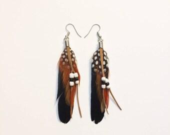 Long Feather Earrings - Boho Feather Jewelry - Festival Jewelry - Long Bohemian Earrings - Feather Statement Earrings - Long Hippie Earrings