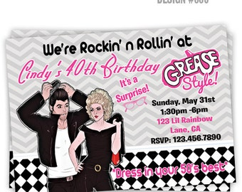 886: DIY - 1950's Grease Style 2 Party Invitation Or Thank You Card