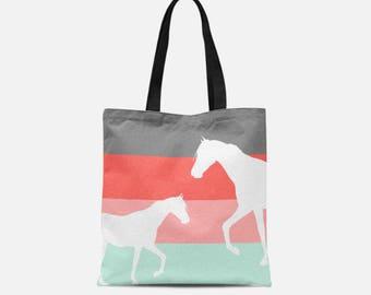 Horse Tote Bag, Stylish bag, Gifts for Her, Coral Grey Aqua Sky Blush, Tote Hand Bag