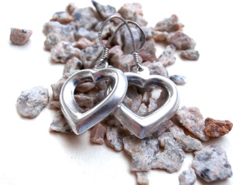 Open Heart Earrings - Vintage Jewellery - Sterling Silver Earrings