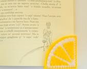 Lemon slice Bookmark, Felt Bookmark, Corner Bookmark, Embroidered Bookmark, Fresh Fruits Bookmark, Back to school gift
