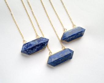 Lapis Lazuli Necklace Horizontal Crystal Point Lapis Lazuli Pendant Blue Stone Necklace Stone Jewelry  Lapis Lazuli Jewelry Mineral Necklace