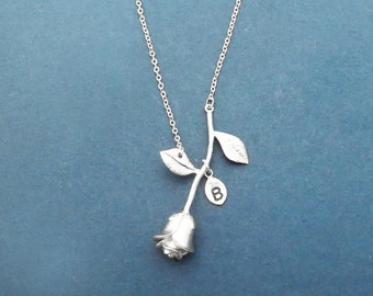 Personalized, Letter, Initial, Silver, Rose, Necklace, Lovely, Flower, Jewelry, Birthday, Lovers, Best friends, Gift, Jewelry