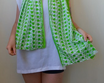 Lime green tulip embroidered scarf/shawl