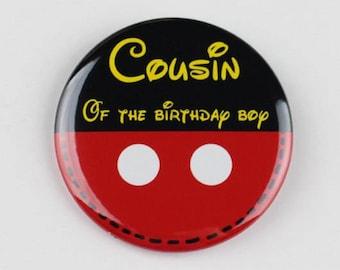 birthday button pin, birthday badge pin,cousin of the birthday boy,brother of the birthday boy,birthday boy, name pin,name badge