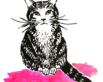 Cat Illustration // Original Mixed Media artwork // Animal Inspired // Pink