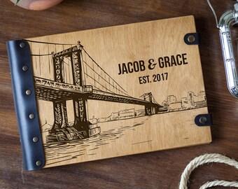 Photo Album, Manhattan Bridge, New York, Wedding Album, Wood Photo Album, Custom Wedding Album, Wedding Guest Book, Wedding