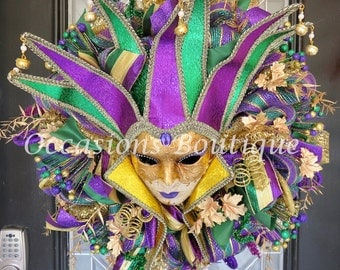 Mardi Gras Wreath, Mardi Gras Decoration, Door Hanger, Front door wreath, Wreath for Front door, Deco Mesh Wreaths