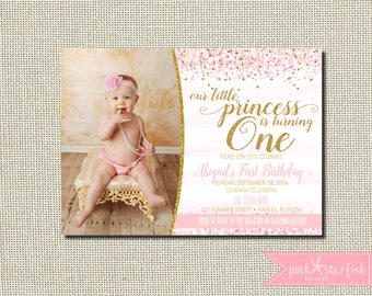 Princess Birthday Invitation, Princess Birthday, Princess Invitation, Pink and Gold, Glitter, Birthday Invitation, Princess, Glam, Digital