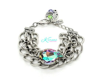COTTON CANDY CRUSH 30x20mm Crystal Pear Chain Bracelet Swarovski Elements *Antique Silver *Karnas Design Studio *Free Shipping*