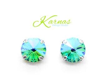 LIGHT TURQUOISE GLACIER 12mm Stud or Drop Earrings Swarovski Elements *Pick Your Metal *Karnas Design Studio *Free Shipping*