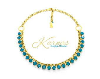 BLUE MY MIND 8mm 39ss Necklace Made With *Discontinued* Swarovski Crystal *Pick Your Finish *Karnas Design Studio *Free Shipping
