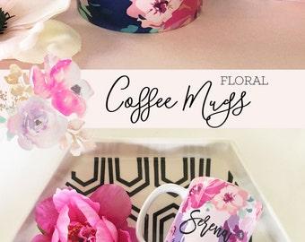 Bridesmaid Mugs - Unique Coffee Mug - Personalized Coffee Mugs - Floral Coffee Mug - Floral Mugs - Bridal Party Mugs (EB3179FL)