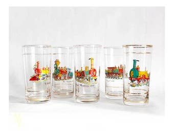 Set of tumblers, Funny gift for friend, Retro tumblers, Set of 5 tumblers, colorful tumblers, painted glasses, 1960s,