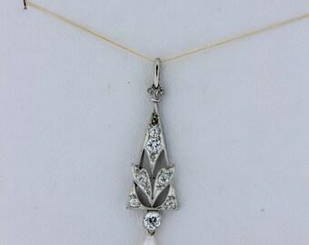 1920s Diamond and drop pearl pendant