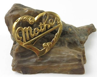 Vintage Mother Heart Brooch, Mother Pin, 1940's