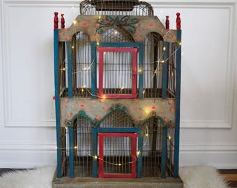 Victorian Painted Wood And Wire Bird Cage