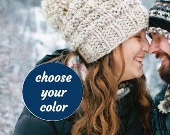 Soft Wool Chunky Knit Hat, Knit Slouchy Hat, Knit Pom Pom Hat, 13 Colors /LADDERS POMPOM HAT / Ready to Ship