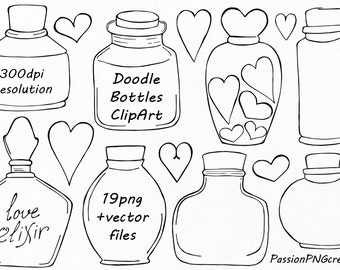 Doodle Bottles Clipart, Love elixir, Digital small bottles clip art, Hand drawn, PNG, EPS, AI, vector files, For Personal and Commercial Use