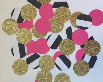 Birthday confetti - kate spade confetti - white and black and pink and gold confetti - 30th birthday - 21st birthday - graduation confetti