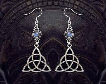 Trinity Knot Earrings, Celtic Earrings, Blue Labradorite Earrings, Mother Crone Maiden, Triquetra Earrings