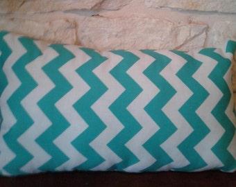 Dorm Room Pillows - Nap Pillow - Toddler Pillow - Teal Chevron Throw Pillow -  Chevron Throw Pillows - Travel Pillow  - Home Decor