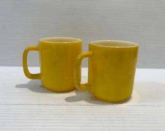 YELLOW MILK GLASS Mug, Dark Yellow Milk Glass Mug, Heat Proof Coffee Mug, Vintage Kitchenware, yellow milk glass cup, vintage coffee cup