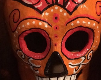 Orange and Hot Pink Sugar Skull