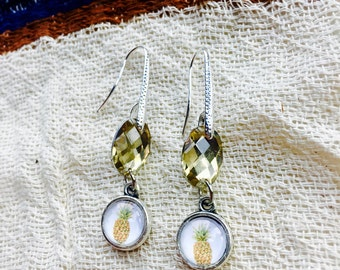 Pineapple Earrings, Pineapple Jewelry, Gifts Under 10, Pineapple Accessories, Fruit Jewelry, Boho Earrings, Gold Pineapple Dangle Earrings