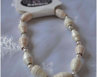 "Handmade Paper Bead Bracelet - Cream and Pale Pink ""pearl like"""