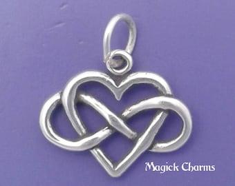 INFINITY Heart Charm .925 Sterling Silver Infinite Love Symbol Pendant - lp4589