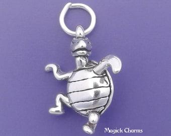 DANCING TURTLE Charm .925 Sterling Silver Pendant - lp2308