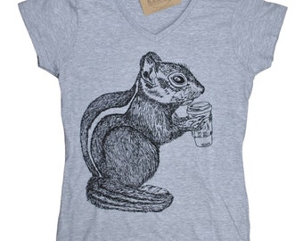 Womens V Neck T Shirts - Chipmunk T Shirt - Womens Animal Tee - Funny TShirts - Hipster Tee Shirt - Gift for Women - Gift for Friend