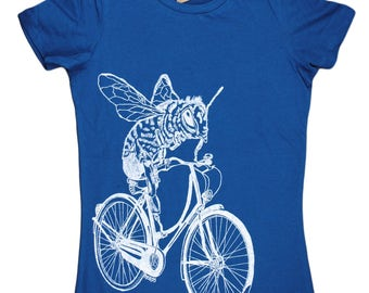 Womens Funny Tshirt - Graphic Tee Shirts for Women - Honey Bee Tshirt - Tops for Women - Teal Tee Trendy Clothes Bee on a Bike S M L XL XXL